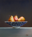 "Three Pears in Blue and White Porcelain Bowl 16""x18"" Oil on Linen"