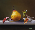 "One Pear vs Branch 14""x12"" Oil on Linen"