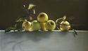 "Apples 34""x20"" Oil on Linen"