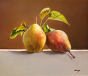 "Two Pears 14""x12"" Oil on Linen"